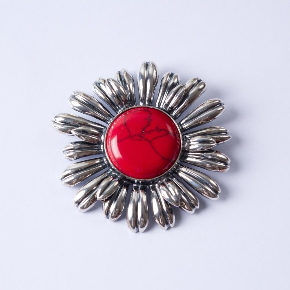 Strieborný pčervená slnečnicarívesok