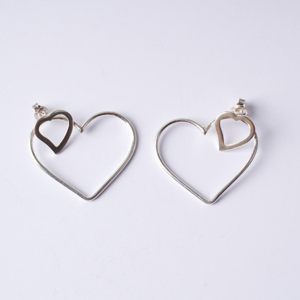 Strieborné náušnice dva srdcia
